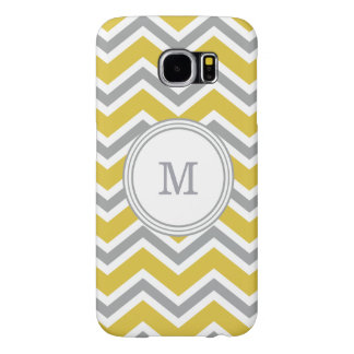 Grey and Yellow Monogram Chevron Samsung Galaxy S6 Samsung Galaxy S6 Cases