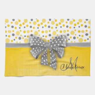Grey and Yellow Polka Dots, Grey Dotted Ribbon Tea Towel