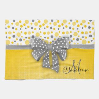 Grey and Yellow Polka Dots, Grey Dotted Ribbon Tea Towel
