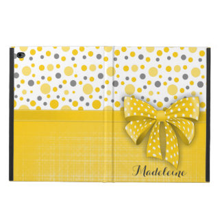 Grey and Yellow Polka Dots, Sunny Yellow Ribbon