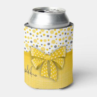 Grey and Yellow Polka Dots, Sunny Yellow Ribbon Can Cooler