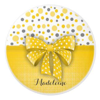 Grey and Yellow Polka Dots, Sunny Yellow Ribbon Ceramic Knob