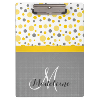 Grey and Yellow Polka Dots, Sunny Yellow Ribbon Clipboards