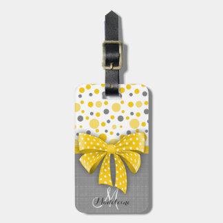 Grey and Yellow Polka Dots, Sunny Yellow Ribbon Luggage Tag