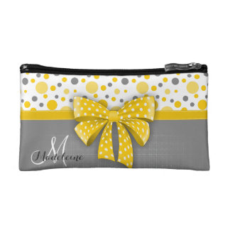 Grey and Yellow Polka Dots, Sunny Yellow Ribbon Makeup Bag