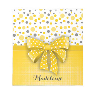 Grey and Yellow Polka Dots, Sunny Yellow Ribbon Notepad