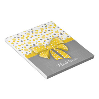 Grey and Yellow Polka Dots, Sunny Yellow Ribbon Notepads