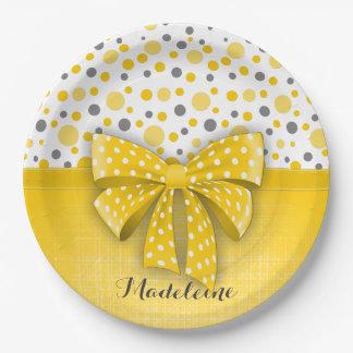 Grey and Yellow Polka Dots, Sunny Yellow Ribbon Paper Plate