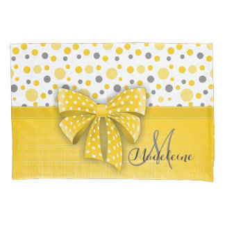 Grey and Yellow Polka Dots, Sunny Yellow Ribbon Pillowcase