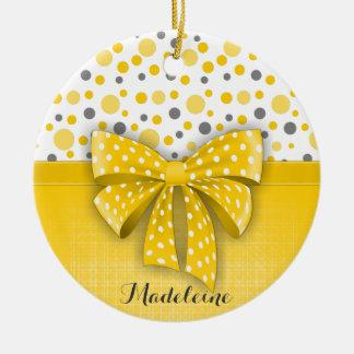 Grey and Yellow Polka Dots, Sunny Yellow Ribbon Round Ceramic Decoration