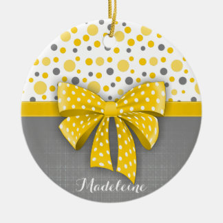 Grey and Yellow Polka Dots, Sunny Yellow Ribbon Round Ceramic Decoration