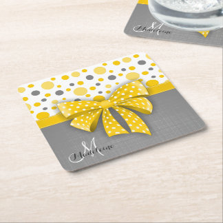 Grey and Yellow Polka Dots, Sunny Yellow Ribbon Square Paper Coaster