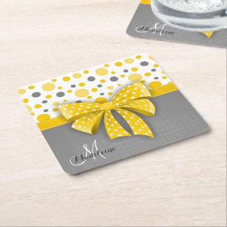 Grey and Yellow Polka Dots, Sunny Yellow Ribbon Square Paper Coaster