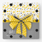 Grey and Yellow Polka Dots, Sunny Yellow Ribbon Square Wall Clock