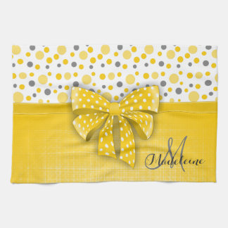 Grey and Yellow Polka Dots, Sunny Yellow Ribbon Tea Towel
