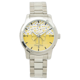 Grey and Yellow Polka Dots, Sunny Yellow Ribbon Watch