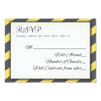 Grey and Yellow Stripes Elegant RSVP 9 Cm X 13 Cm Invitation Card