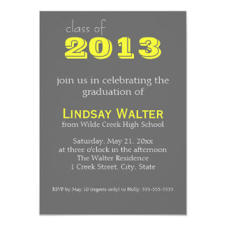 Grey and Yellow | Text |  Graduation Invitation