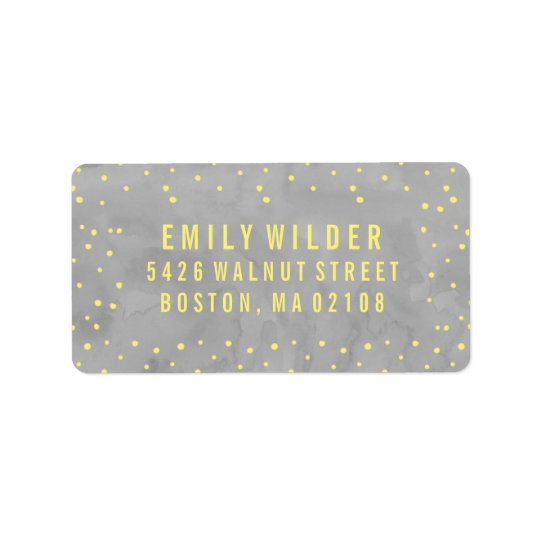 Grey and Yellow Watercolor Dots Baby Shower Address Label