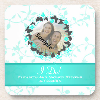 Grey Aqua Butterfly Bouquet Ring Wedding Favors Coasters