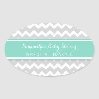 Grey Aqua Chevron Baby Shower Favor Stickers