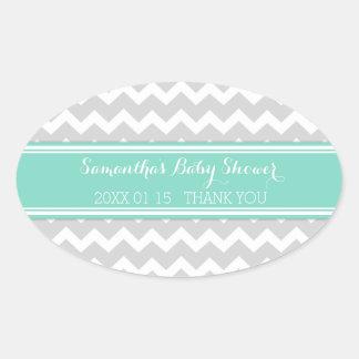 Grey Aqua Chevron Baby Shower Favor Stickers