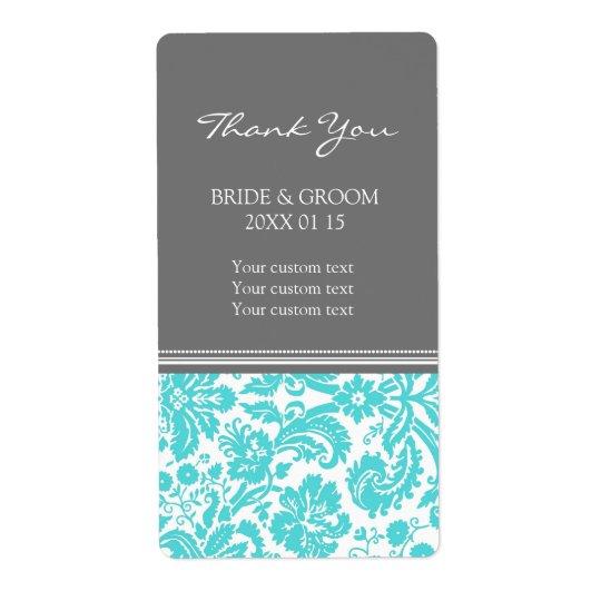 Grey Aqua Damask Pattern Wedding Labels