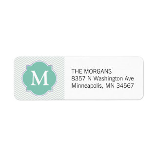 Grey & Aqua Modern Chevron Custom Monogram