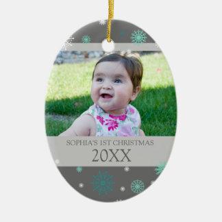 Grey Aqua Snow Photo Baby's 1st Christmas Ornament