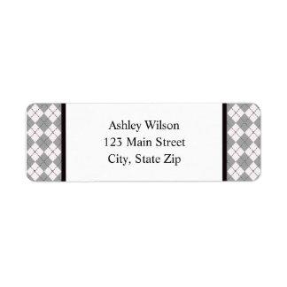 Grey Argyle Return Address Labels