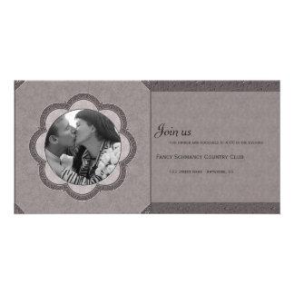 Grey Art Nouveau Wedding Photo Greeting Card