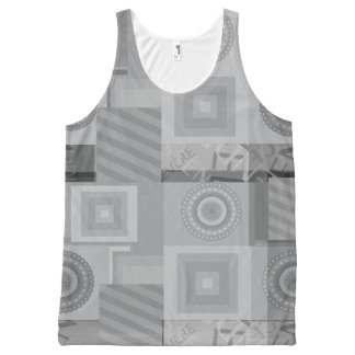Grey asymmetric pattern All-Over print tank top