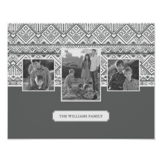 Grey Aztec Pattern | Family Photos & Text Poster