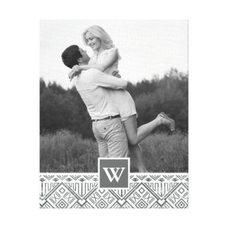 Grey Aztec Pattern | Photo with Monogram Canvas Print