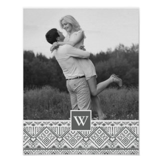 Grey Aztec Pattern | Photo with Monogram Poster