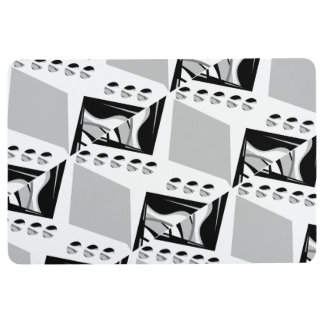 Grey B&W Design Floor Mat