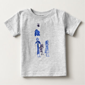 Grey Baby Fine Jersey T-Shirt with Kid's drawing.