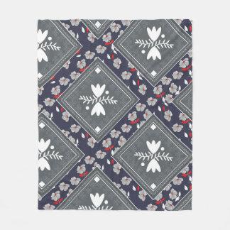 Grey Bandannas Retro Flowers Fleece Blanket