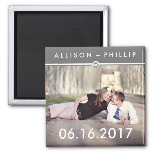 Grey Banner Save the Date Photo Wedding Magnets