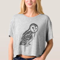Grey Barn Owl Women's Bella Boxy Crop Top Tee Shirt