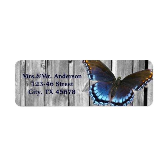 Grey Barn Wood BLue Butterfly Wedding