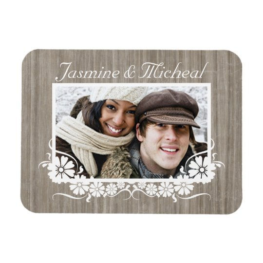 Grey Barnwood Custom Photo Flex Rectangular Photo Magnet