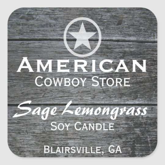 Grey Barnwood White Star Candle Label v2
