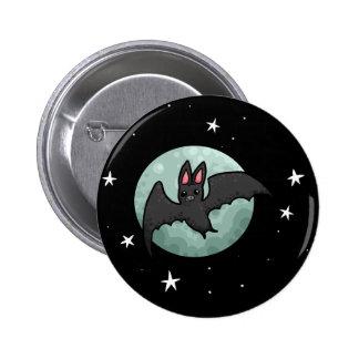 Grey bat flying across silver moon 6 cm round badge