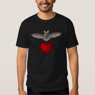 "Grey Bat with Red Heart on Black ""Bat love"" Tshirts"