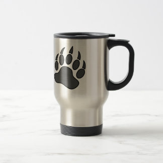 Grey Bear Pride Bear Paw Symbol Stainless Steel Travel Mug