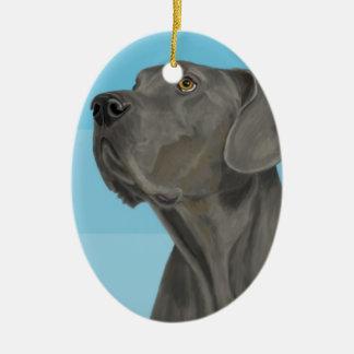 Grey Beautiful Great Dane on Blue Christmas Ornament