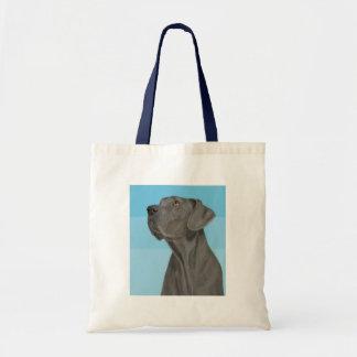 Grey Beautiful Great Dane on Blue Tote Bag