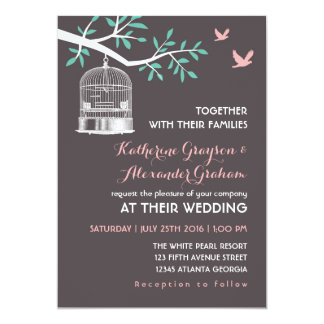 Grey Bird Cage and Dove Rustic Wedding Invitation