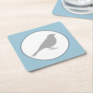 Grey Bird Light Blue Coaster